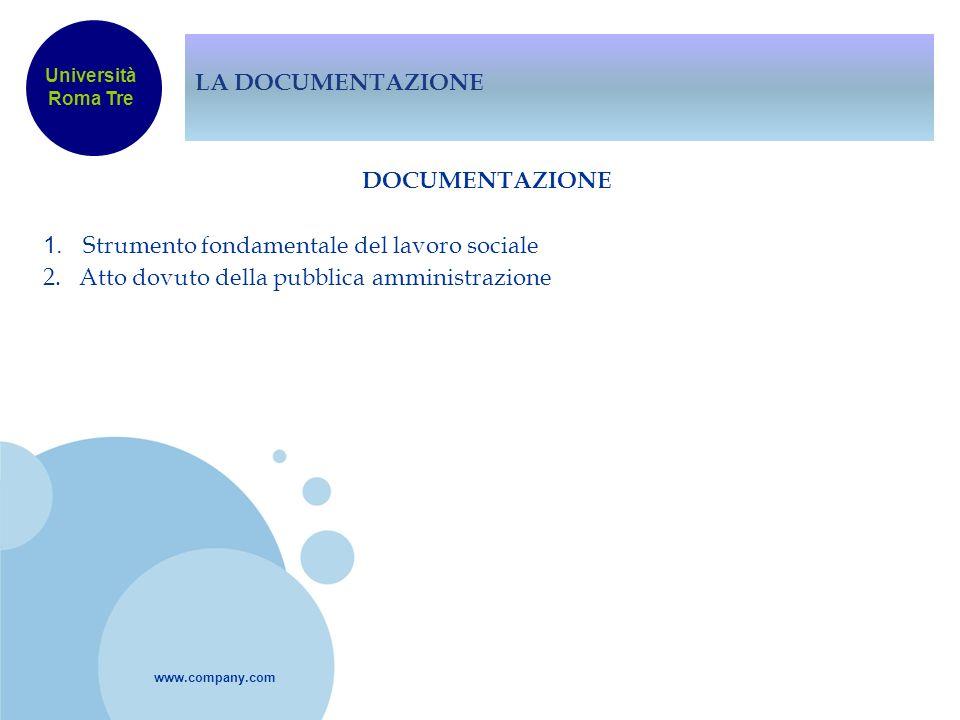 www.company.com LA DOCUMENTAZIONE DOCUMENTAZIONE 1. Strumento fondamentale del lavoro sociale 2. Atto dovuto della pubblica amministrazione Università