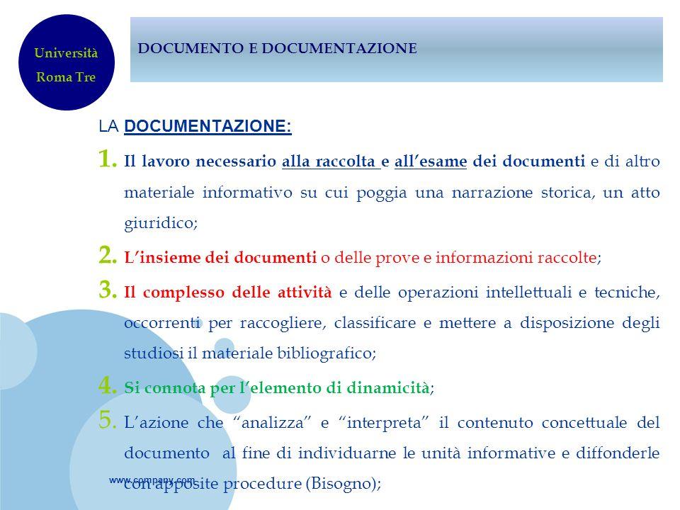 www.company.com DOCUMENTO E DOCUMENTAZIONE LA DOCUMENTAZIONE: 1. Il lavoro necessario alla raccolta e allesame dei documenti e di altro materiale info