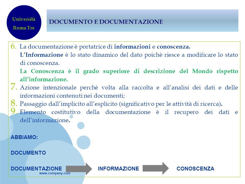 www.company.com DOCUMENTO E DOCUMENTAZIONE 6. La documentazione è portatrice di informazioni e conoscenza. LInformazione è lo stato dinamico del dato