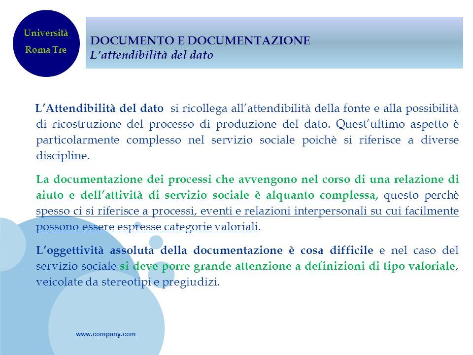 www.company.com DOCUMENTO E DOCUMENTAZIONE Lattendibilità del dato LAttendibilità del dato si ricollega allattendibilità della fonte e alla possibilit