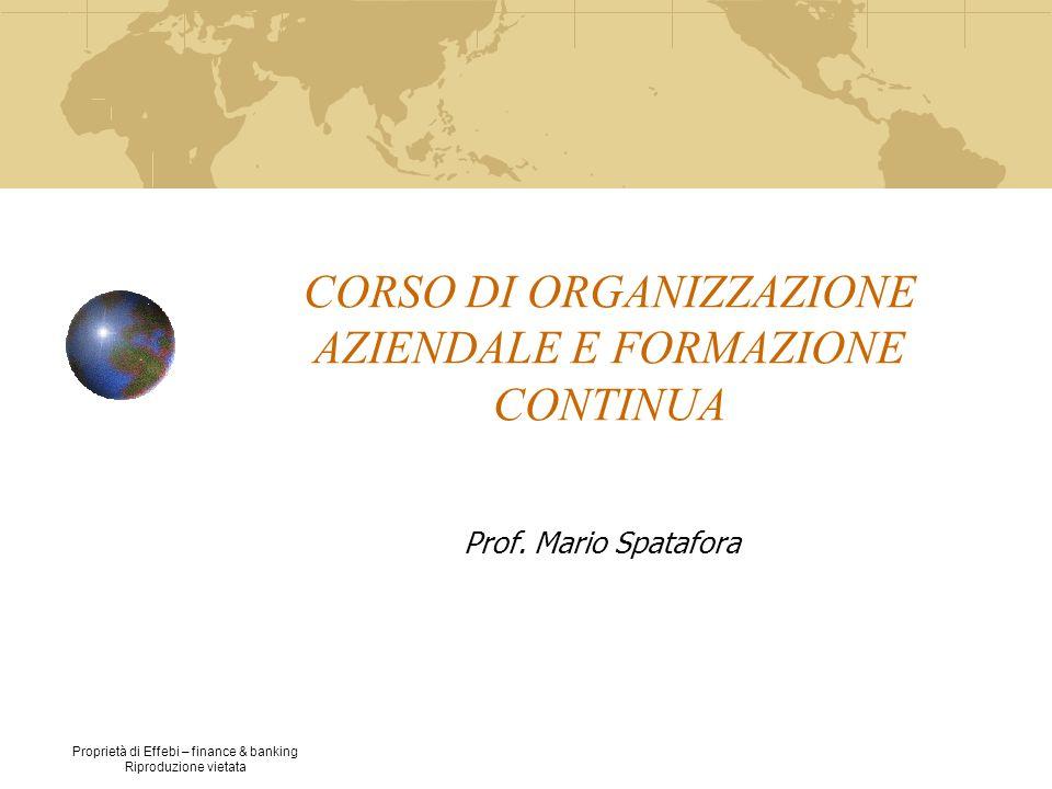 Proprietà di Effebi – finance & banking Riproduzione vietata CORSO DI ORGANIZZAZIONE AZIENDALE E FORMAZIONE CONTINUA Prof. Mario Spatafora