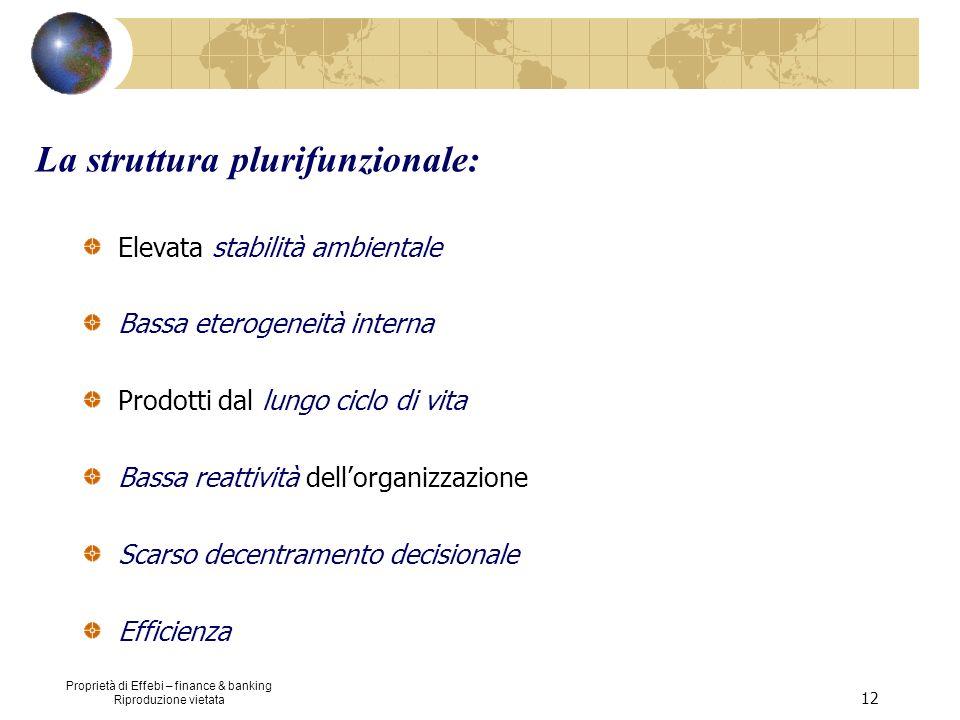 Proprietà di Effebi – finance & banking Riproduzione vietata 12 La struttura plurifunzionale: Elevata stabilità ambientale Bassa eterogeneità interna