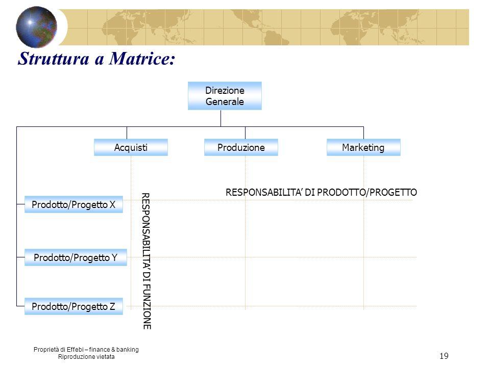 Proprietà di Effebi – finance & banking Riproduzione vietata 19 Struttura a Matrice: Direzione Generale AcquistiMarketingProduzione Prodotto/Progetto