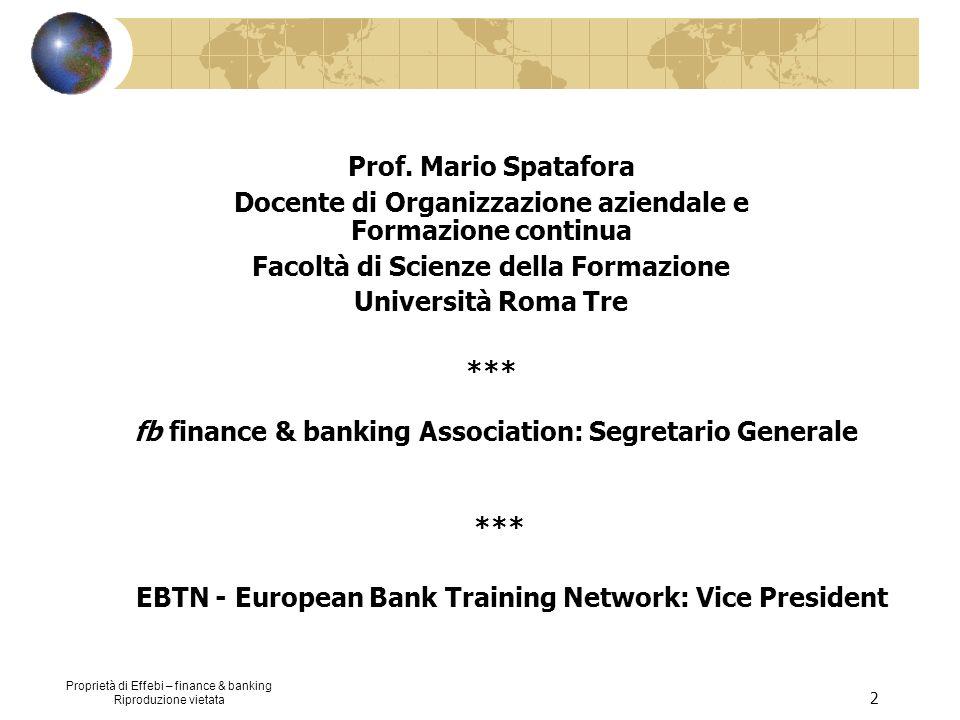 Proprietà di Effebi – finance & banking Riproduzione vietata 2 Prof. Mario Spatafora Docente di Organizzazione aziendale e Formazione continua Facoltà
