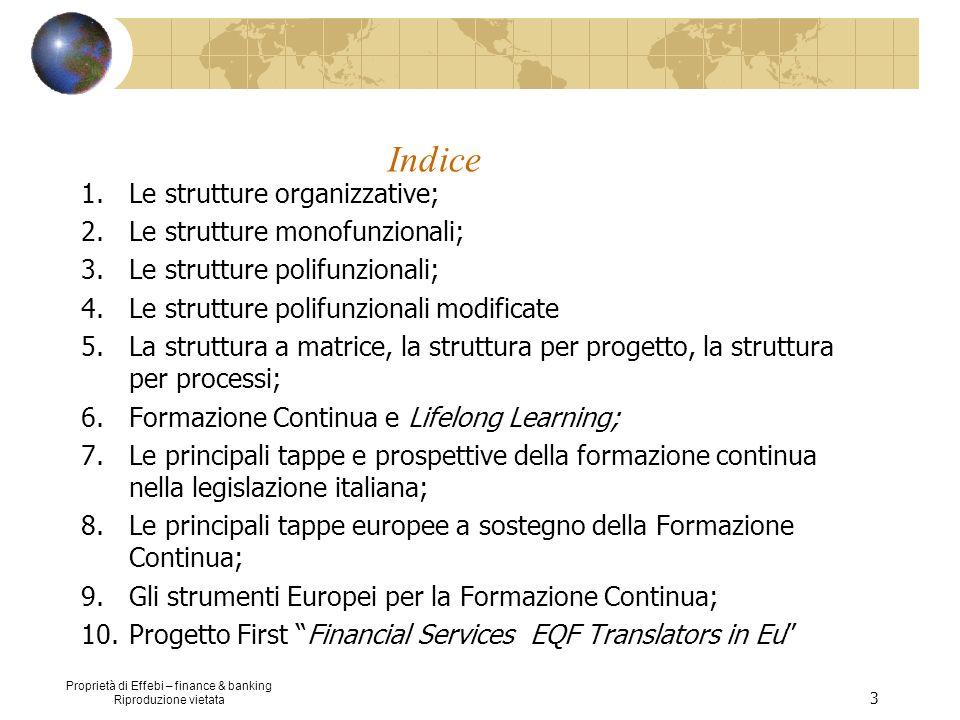 Proprietà di Effebi – finance & banking Riproduzione vietata 24 La struttura per processi Anni 90: Azienda come un sistema di processi vs azienda come sistema di funzioni Processo è un insieme di attività, anche di natura diversa, finalizzate al raggiungimento dello stesso output.