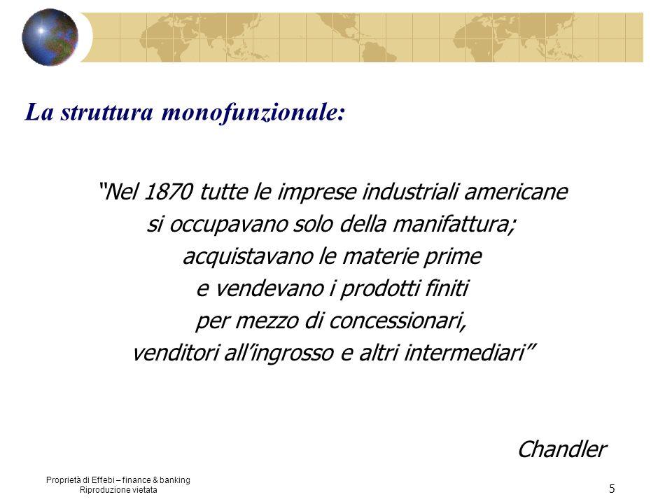 Proprietà di Effebi – finance & banking Riproduzione vietata 5 La struttura monofunzionale: Nel 1870 tutte le imprese industriali americane si occupav