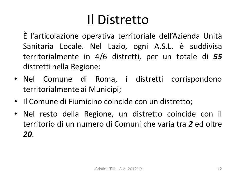 Il Distretto È larticolazione operativa territoriale dellAzienda Unità Sanitaria Locale. Nel Lazio, ogni A.S.L. è suddivisa territorialmente in 4/6 di