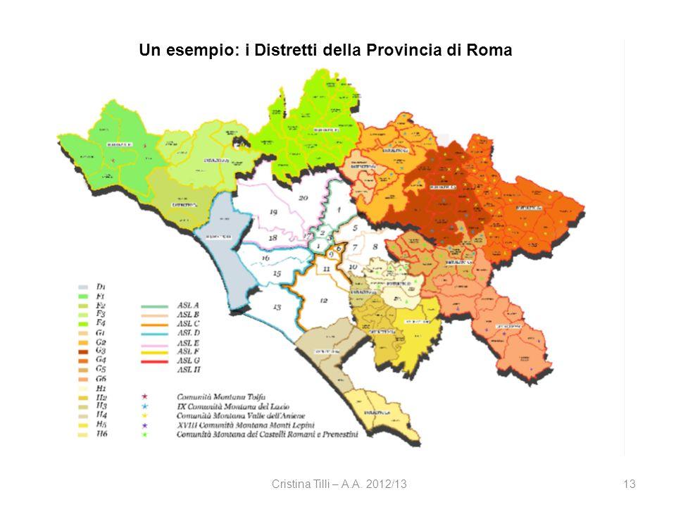Cristina Tilli – A.A. 2012/1313 Un esempio: i Distretti della Provincia di Roma