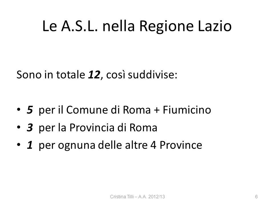 Le A.S.L. nella Regione Lazio Sono in totale 12, così suddivise: 5 per il Comune di Roma + Fiumicino 3 per la Provincia di Roma 1 per ognuna delle alt