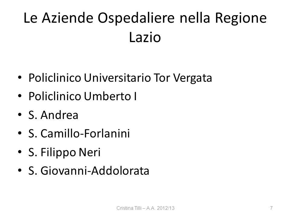 Le Aziende Ospedaliere nella Regione Lazio Policlinico Universitario Tor Vergata Policlinico Umberto I S. Andrea S. Camillo-Forlanini S. Filippo Neri