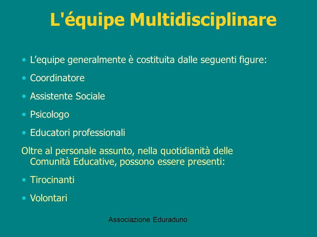 Associazione Eduraduno L'équipe Multidisciplinare Lequipe generalmente è costituita dalle seguenti figure: Coordinatore Assistente Sociale Psicologo E