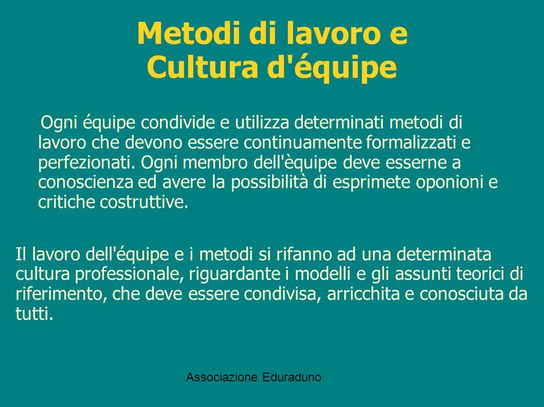 Associazione Eduraduno Metodi di lavoro e Cultura d'équipe Ogni équipe condivide e utilizza determinati metodi di lavoro che devono essere continuamen