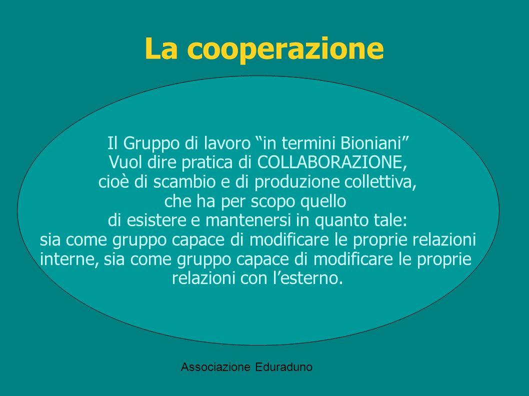 Associazione Eduraduno Il Gruppo di lavoro in termini Bioniani Vuol dire pratica di COLLABORAZIONE, cioè di scambio e di produzione collettiva, che ha