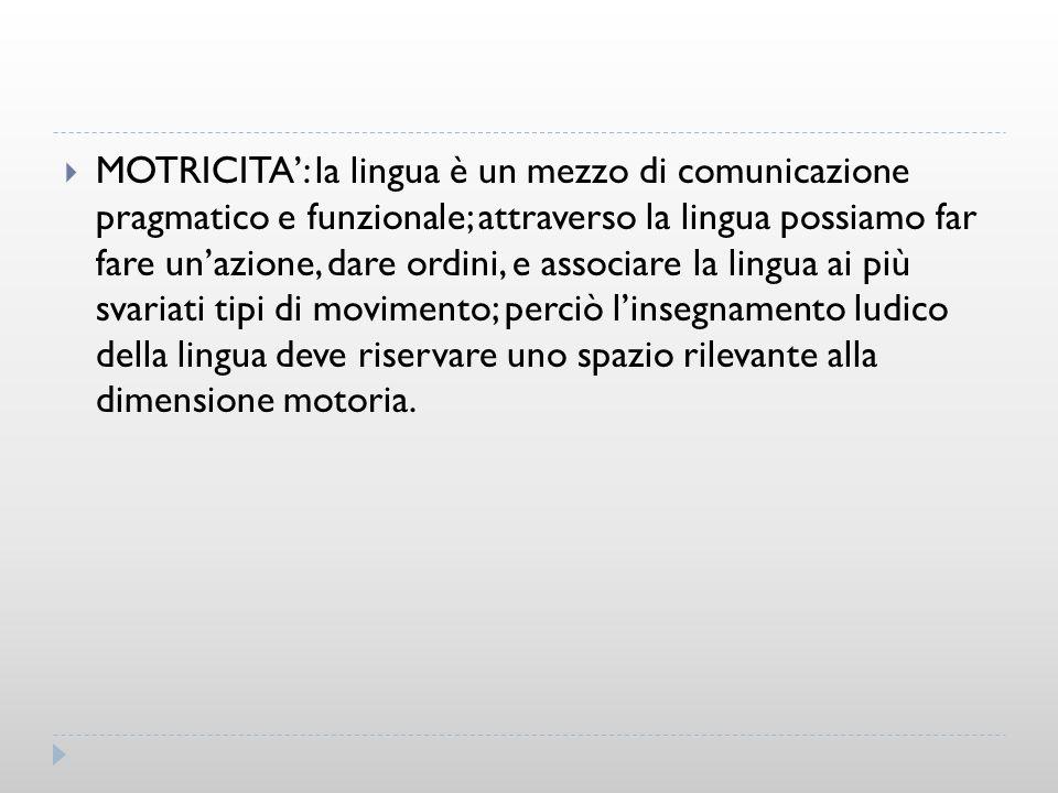 MOTRICITA: la lingua è un mezzo di comunicazione pragmatico e funzionale; attraverso la lingua possiamo far fare unazione, dare ordini, e associare la