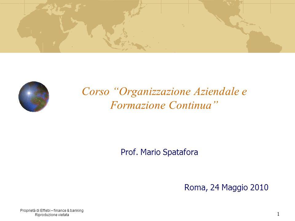Proprietà di Effebi – finance & banking Riproduzione vietata 1 Corso Organizzazione Aziendale e Formazione Continua Prof. Mario Spatafora Roma, 24 Mag