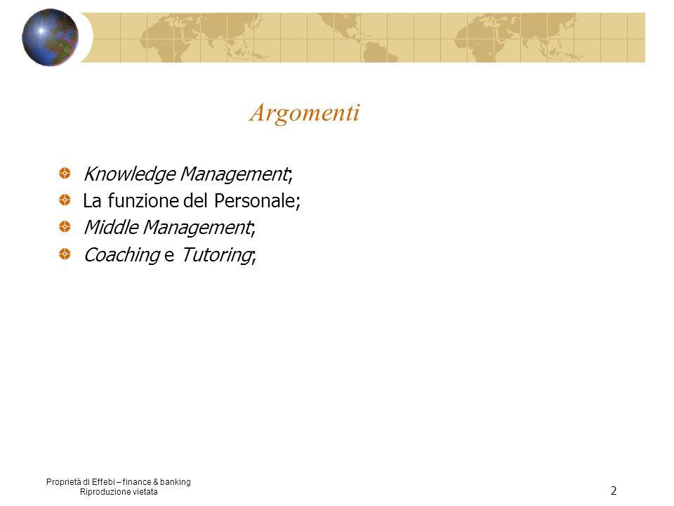 Proprietà di Effebi – finance & banking Riproduzione vietata 2 Argomenti Knowledge Management; La funzione del Personale; Middle Management; Coaching