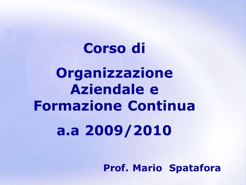 Page 1 Corso di Organizzazione Aziendale e Formazione Continua a.a 2009/2010 Prof. Mario Spatafora