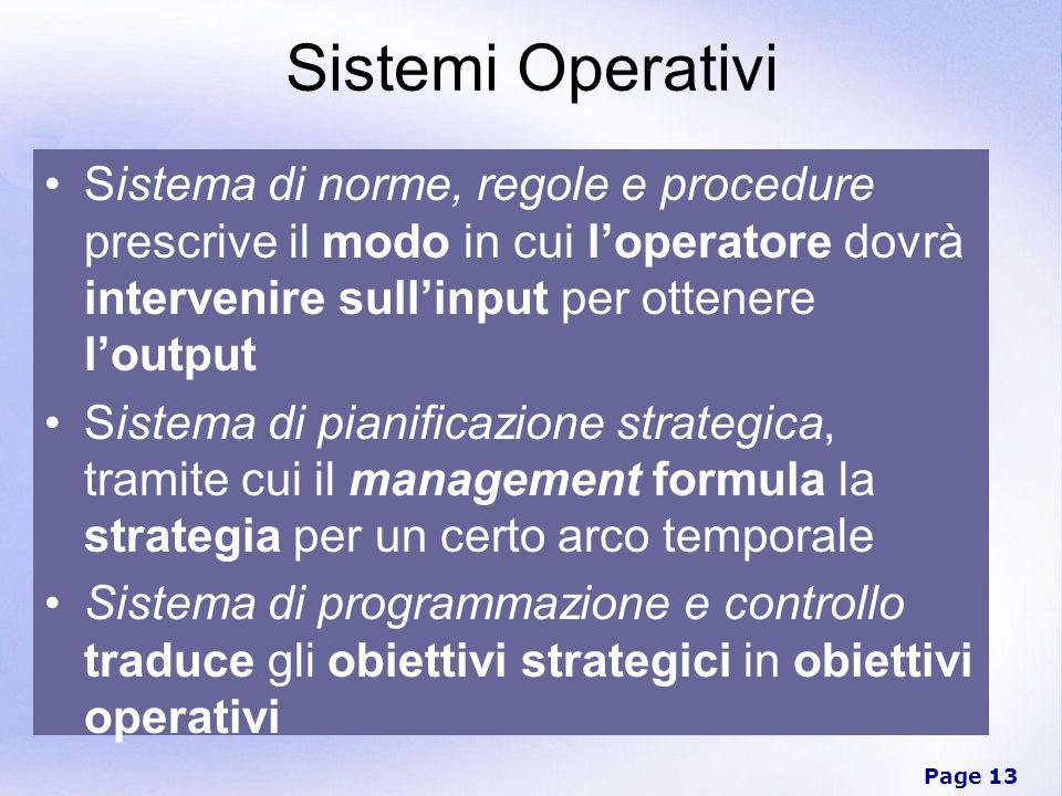 Page 13 Sistemi Operativi Sistema di norme, regole e procedure prescrive il modo in cui loperatore dovrà intervenire sullinput per ottenere loutput Si