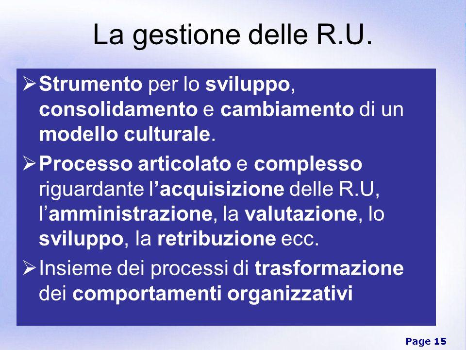 Page 15 La gestione delle R.U. Strumento per lo sviluppo, consolidamento e cambiamento di un modello culturale. Processo articolato e complesso riguar