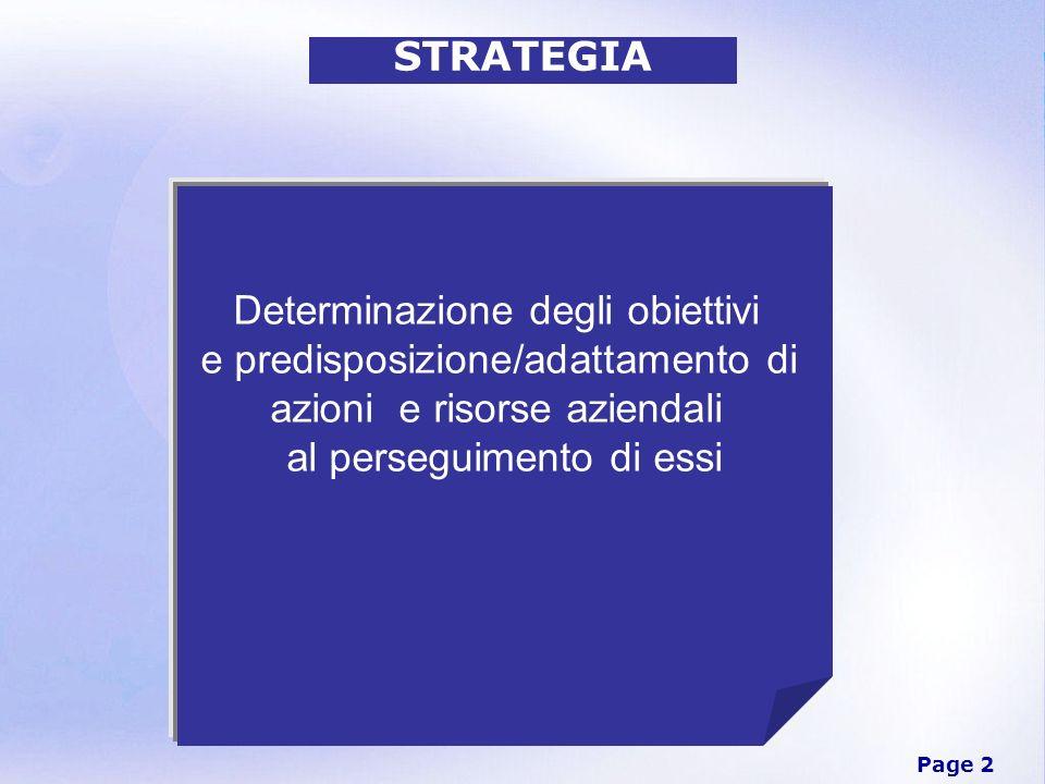 Page 2 STRATEGIA Determinazione degli obiettivi e predisposizione/adattamento di azioni e risorse aziendali al perseguimento di essi