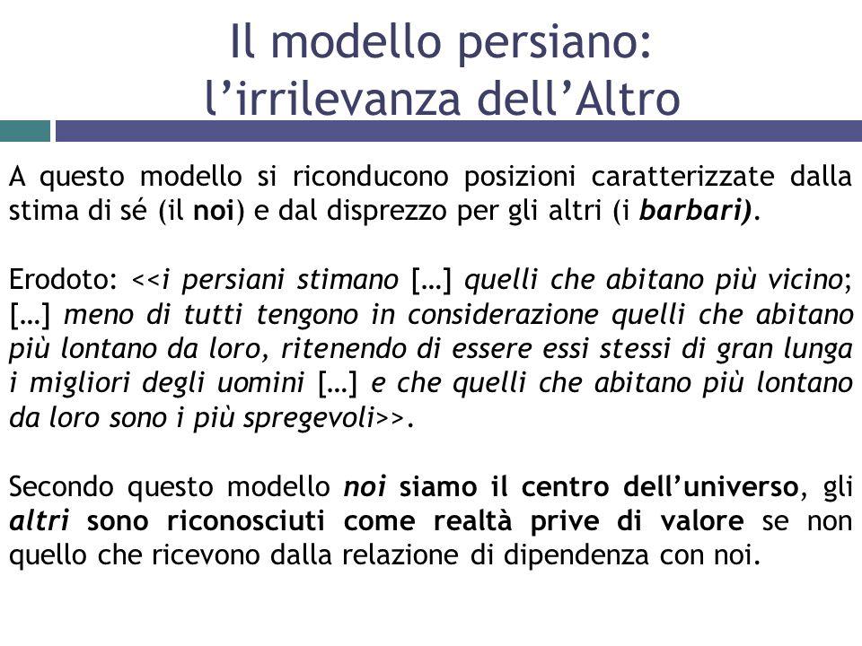 Il modello persiano: lirrilevanza dellAltro A questo modello si riconducono posizioni caratterizzate dalla stima di sé (il noi) e dal disprezzo per gli altri (i barbari).