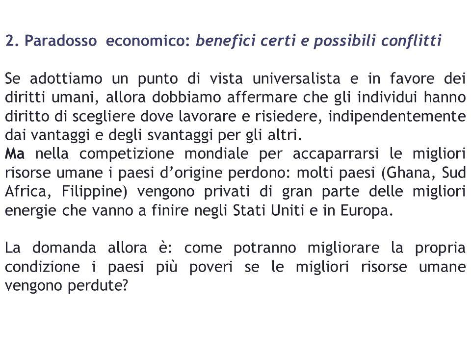 2. Paradosso economico: benefici certi e possibili conflitti Se adottiamo un punto di vista universalista e in favore dei diritti umani, allora dobbia