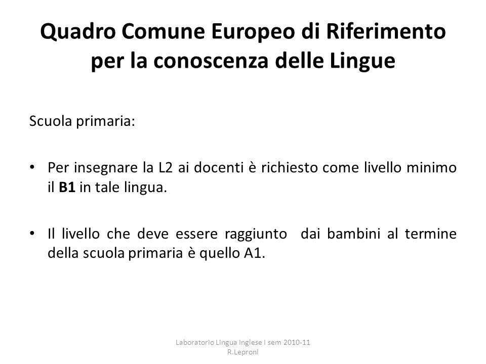 Quadro Comune Europeo di Riferimento per la conoscenza delle Lingue Scuola primaria: Per insegnare la L2 ai docenti è richiesto come livello minimo il