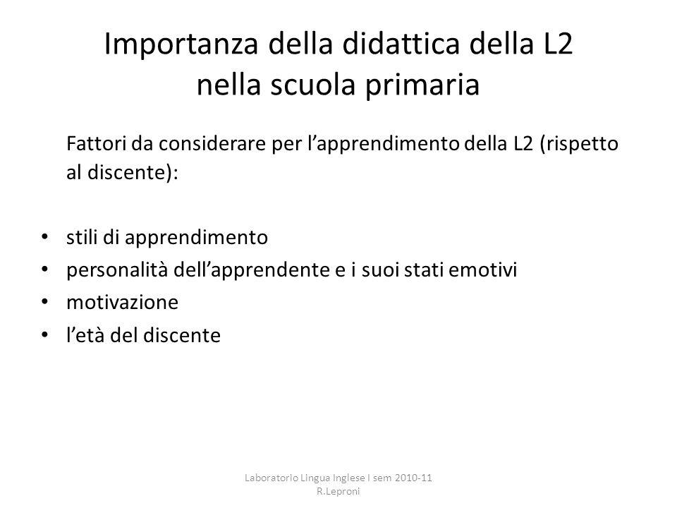 Importanza della didattica della L2 nella scuola primaria Fattori da considerare per lapprendimento della L2 (rispetto al discente): stili di apprendi