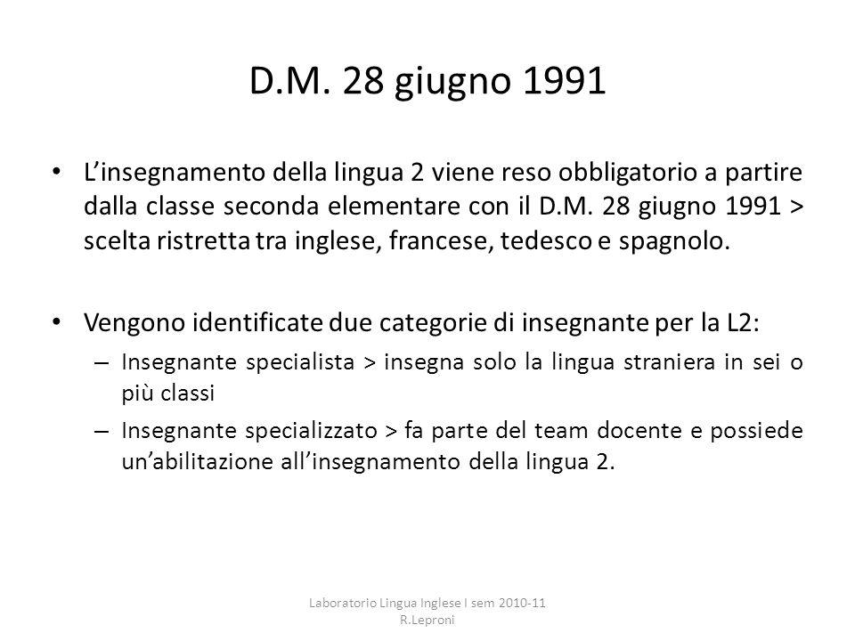 D.M. 28 giugno 1991 Linsegnamento della lingua 2 viene reso obbligatorio a partire dalla classe seconda elementare con il D.M. 28 giugno 1991 > scelta