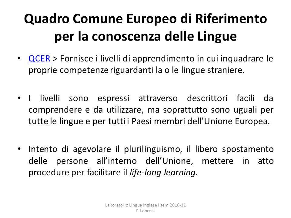 Quadro Comune Europeo di Riferimento per la conoscenza delle Lingue QCER > Fornisce i livelli di apprendimento in cui inquadrare le proprie competenze