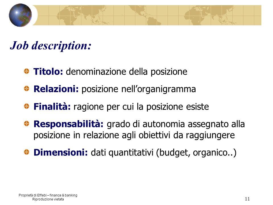 Proprietà di Effebi – finance & banking Riproduzione vietata 11 Job description: Titolo: denominazione della posizione Relazioni: posizione nellorgani