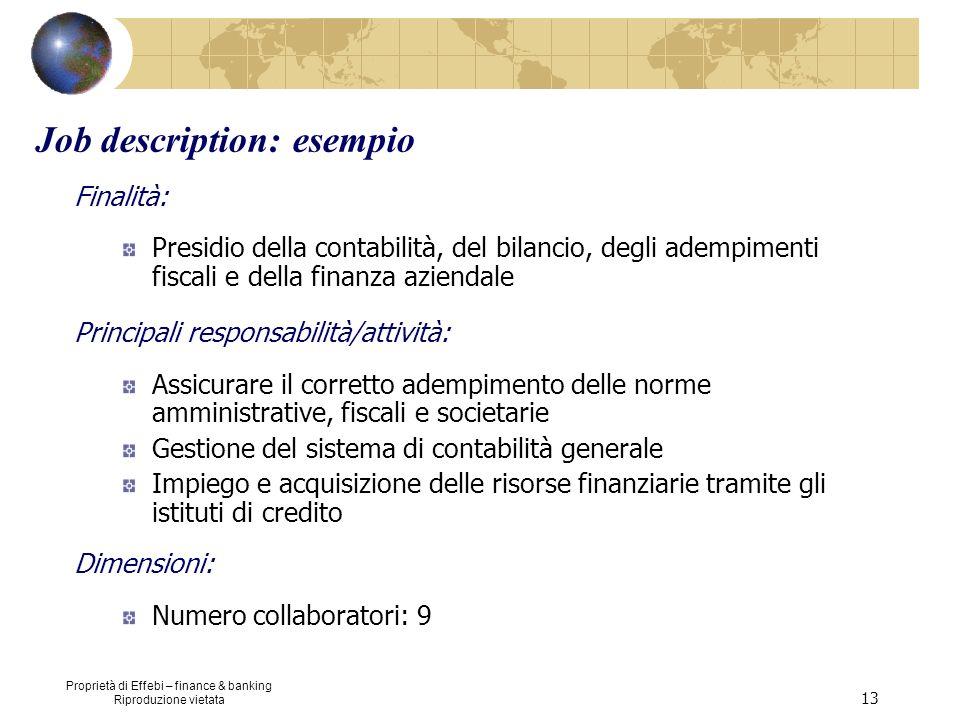 Proprietà di Effebi – finance & banking Riproduzione vietata 13 Job description: esempio Finalità: Presidio della contabilità, del bilancio, degli ade