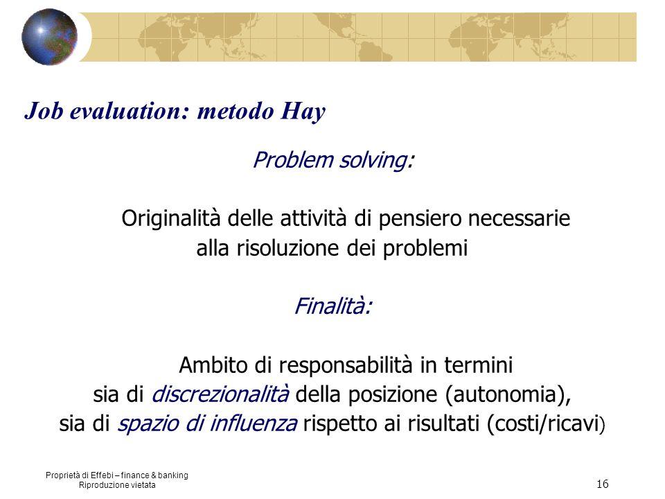 Proprietà di Effebi – finance & banking Riproduzione vietata 16 Job evaluation: metodo Hay Problem solving: Originalità delle attività di pensiero nec