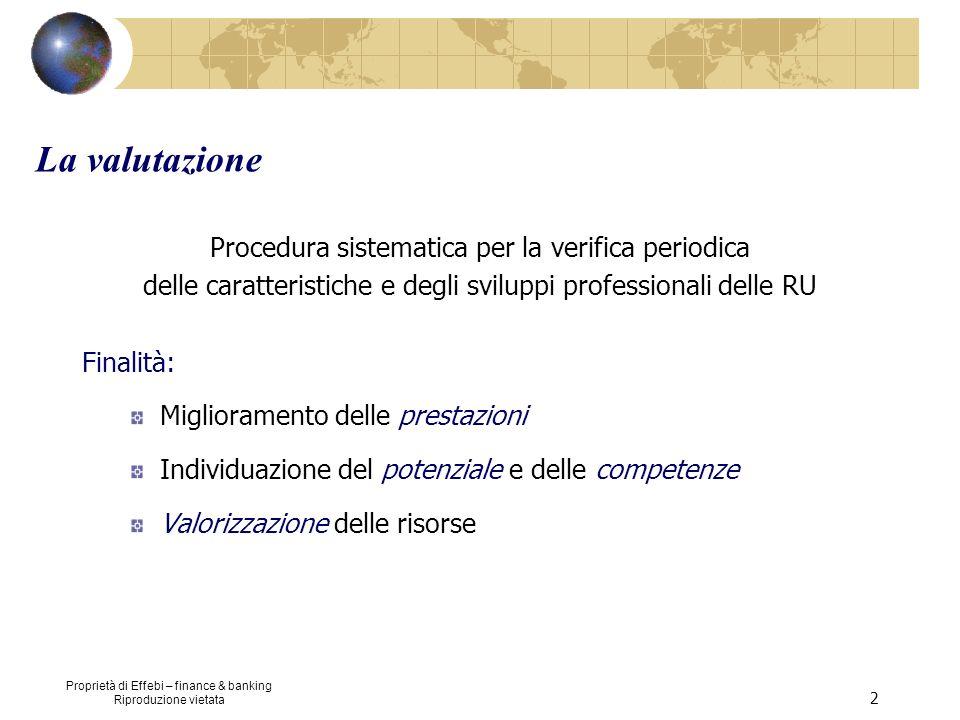 Proprietà di Effebi – finance & banking Riproduzione vietata 2 La valutazione Procedura sistematica per la verifica periodica delle caratteristiche e
