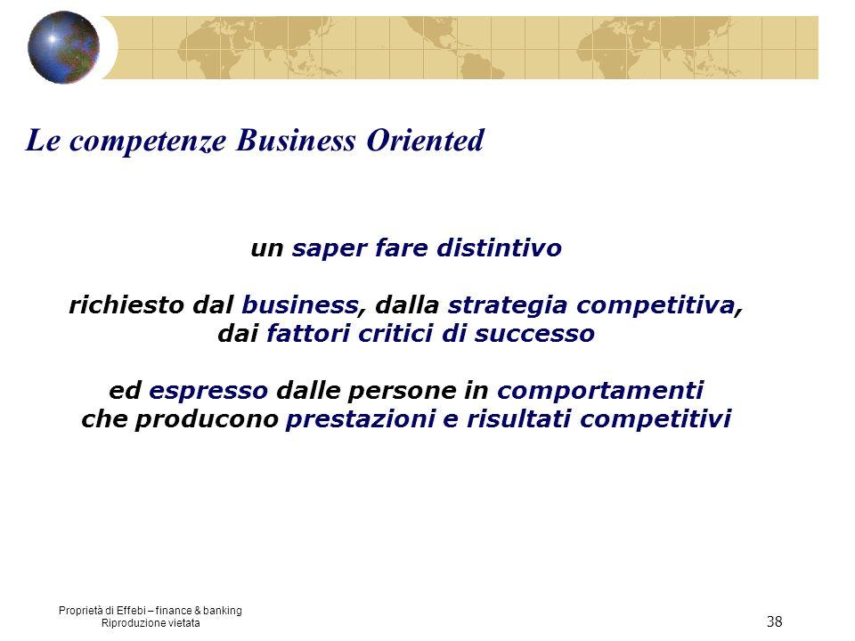 Proprietà di Effebi – finance & banking Riproduzione vietata 38 un saper fare distintivo richiesto dal business, dalla strategia competitiva, dai fatt