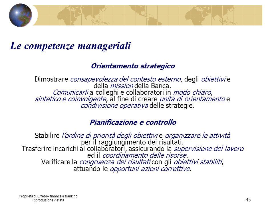 Proprietà di Effebi – finance & banking Riproduzione vietata 45 Orientamento strategico Dimostrare consapevolezza del contesto esterno, degli obiettiv