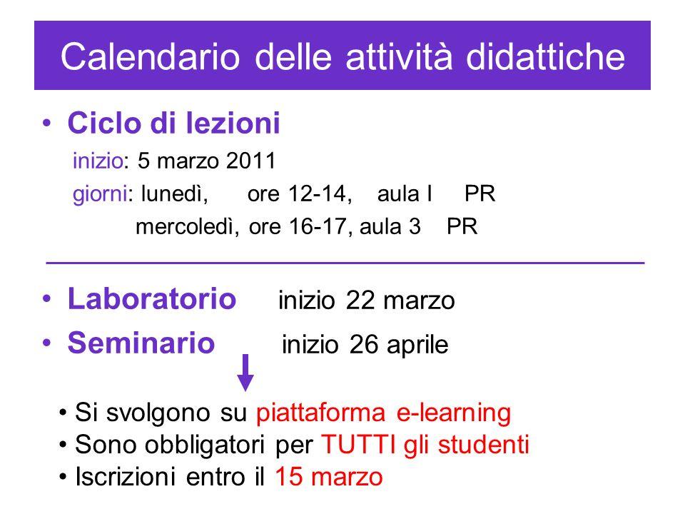 Calendario delle attività didattiche Ciclo di lezioni inizio: 5 marzo 2011 giorni: lunedì, ore 12-14, aula I PR mercoledì, ore 16-17, aula 3 PR Labora
