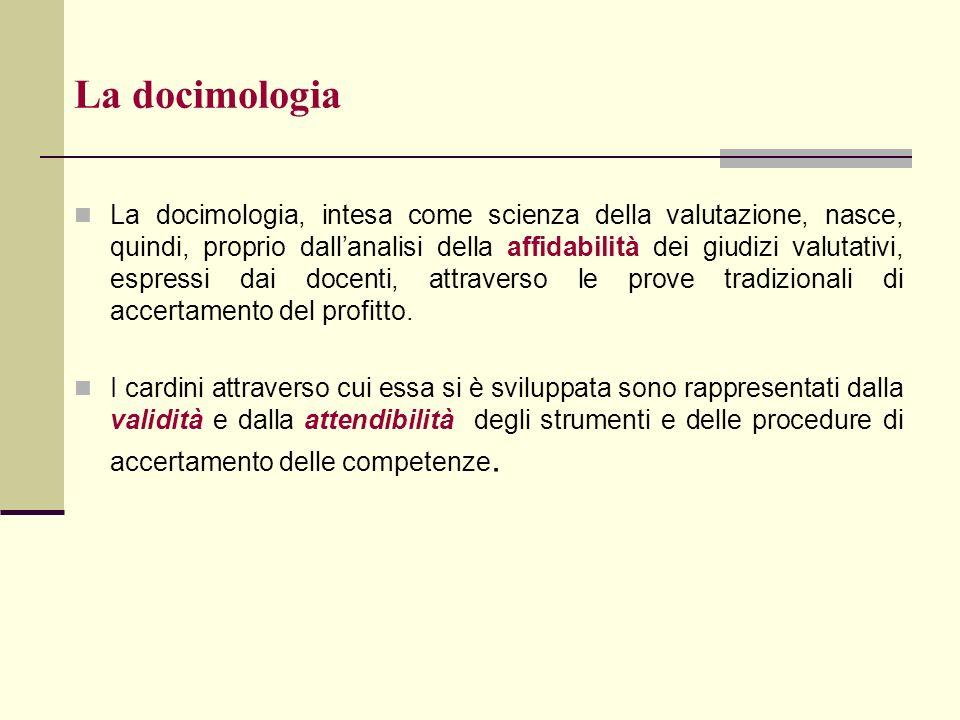 La docimologia La docimologia, intesa come scienza della valutazione, nasce, quindi, proprio dallanalisi della affidabilità dei giudizi valutativi, es