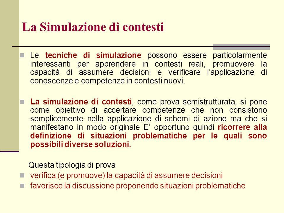 La Simulazione di contesti Le tecniche di simulazione possono essere particolarmente interessanti per apprendere in contesti reali, promuovere la capa