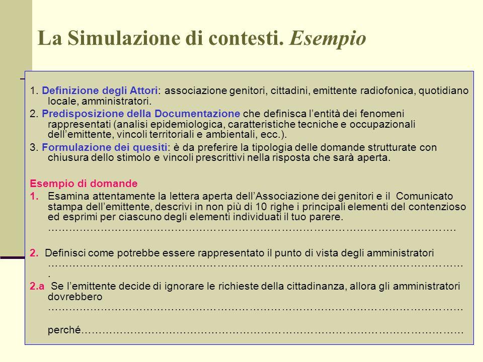 La Simulazione di contesti. Esempio 1. Definizione degli Attori: associazione genitori, cittadini, emittente radiofonica, quotidiano locale, amministr