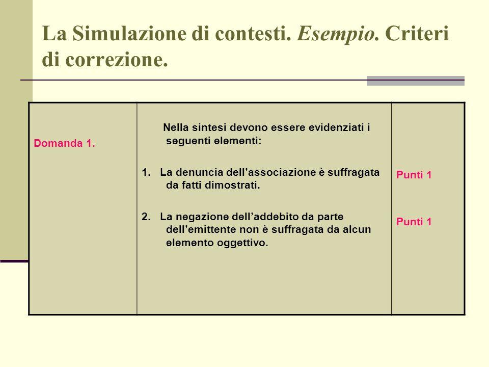 La Simulazione di contesti. Esempio. Criteri di correzione. Domanda 1. Nella sintesi devono essere evidenziati i seguenti elementi: 1. La denuncia del