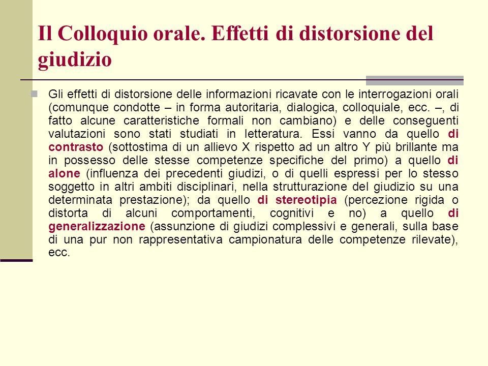 Il Colloquio orale. Effetti di distorsione del giudizio Gli effetti di distorsione delle informazioni ricavate con le interrogazioni orali (comunque c