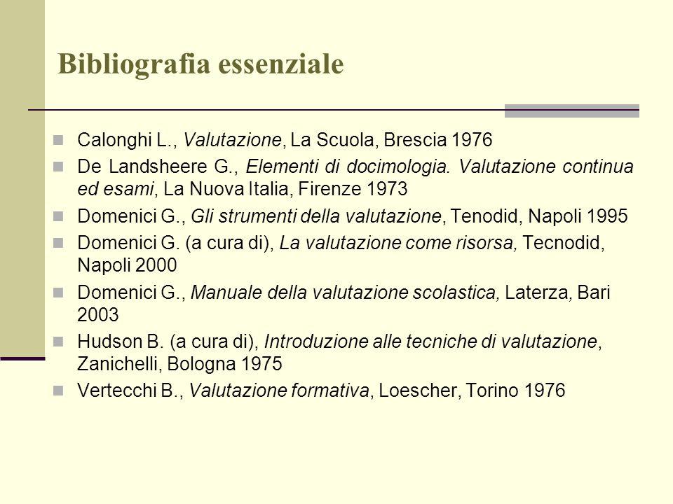 Bibliografia essenziale Calonghi L., Valutazione, La Scuola, Brescia 1976 De Landsheere G., Elementi di docimologia. Valutazione continua ed esami, La
