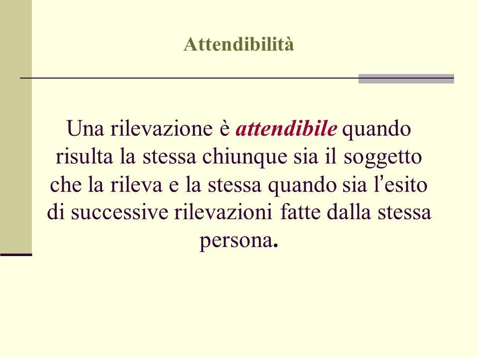 Attendibilità Una rilevazione è attendibile quando risulta la stessa chiunque sia il soggetto che la rileva e la stessa quando sia l esito di successi