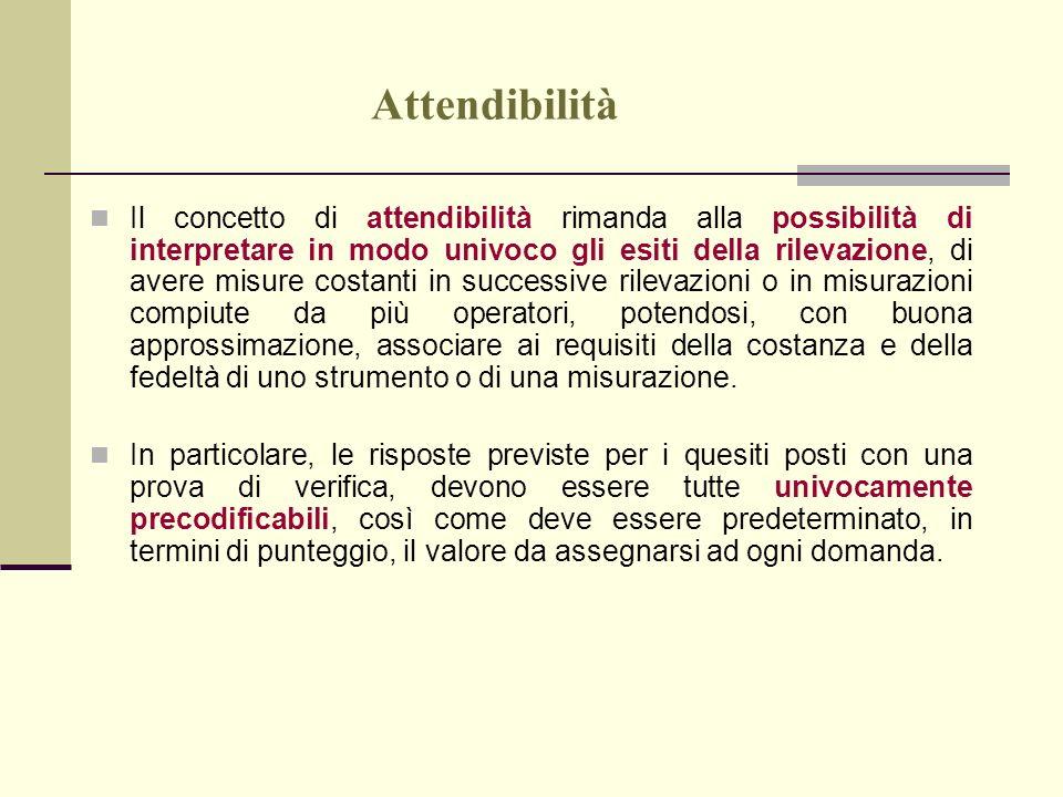 Attendibilità Il concetto di attendibilità rimanda alla possibilità di interpretare in modo univoco gli esiti della rilevazione, di avere misure costa