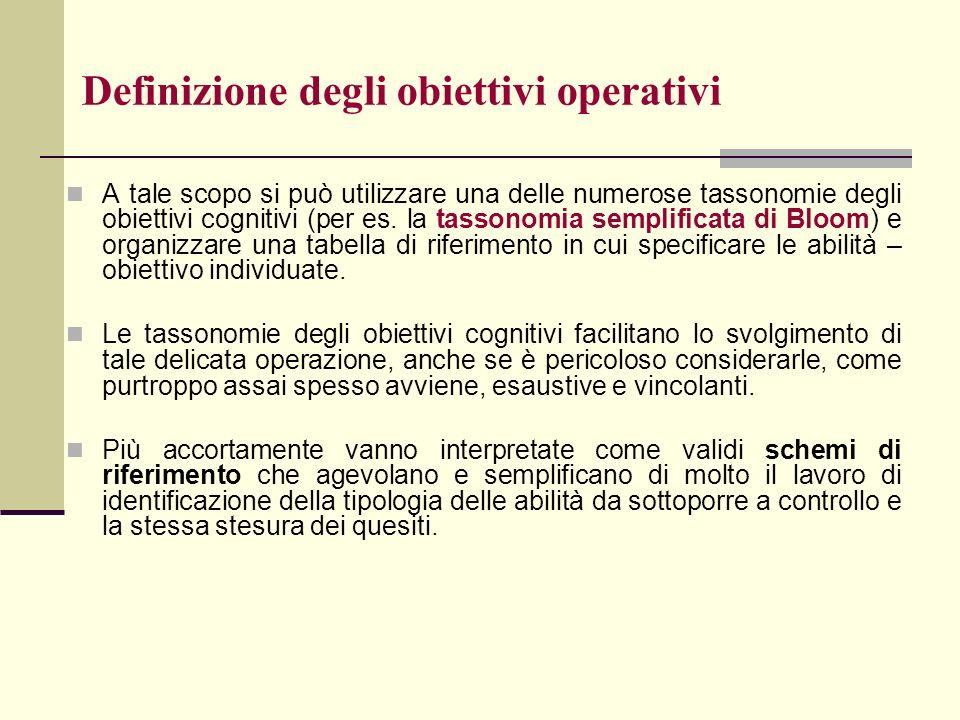 Definizione degli obiettivi operativi A tale scopo si può utilizzare una delle numerose tassonomie degli obiettivi cognitivi (per es. la tassonomia se