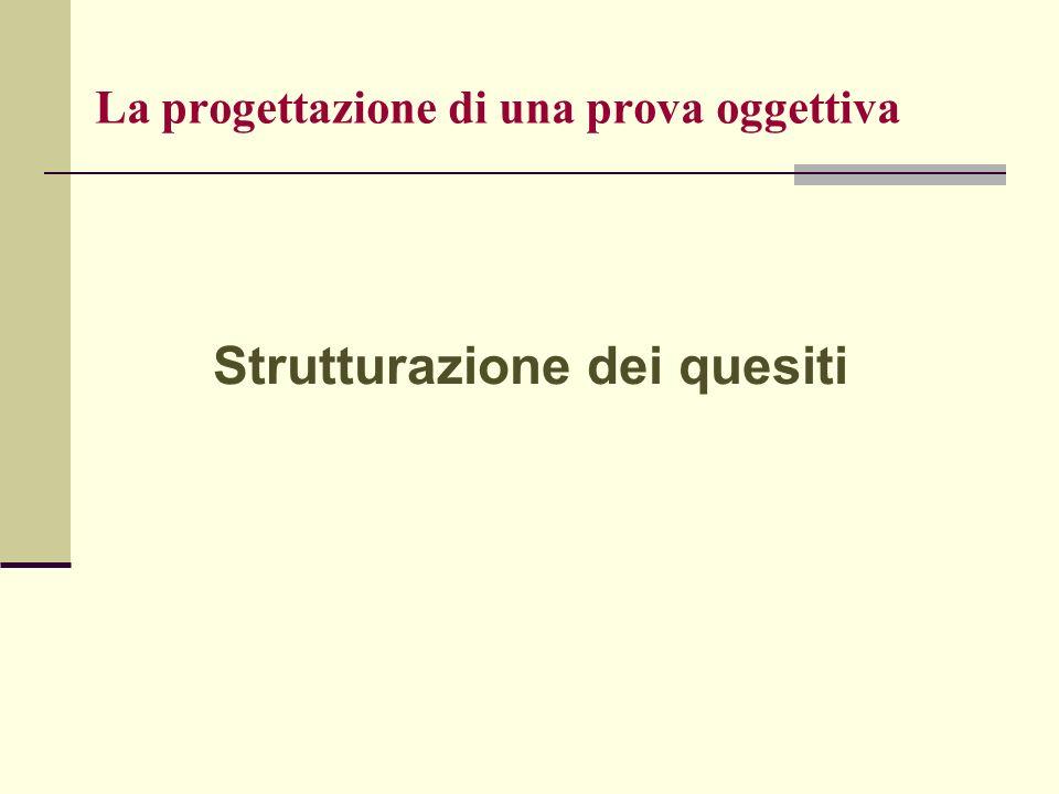 La progettazione di una prova oggettiva Strutturazione dei quesiti