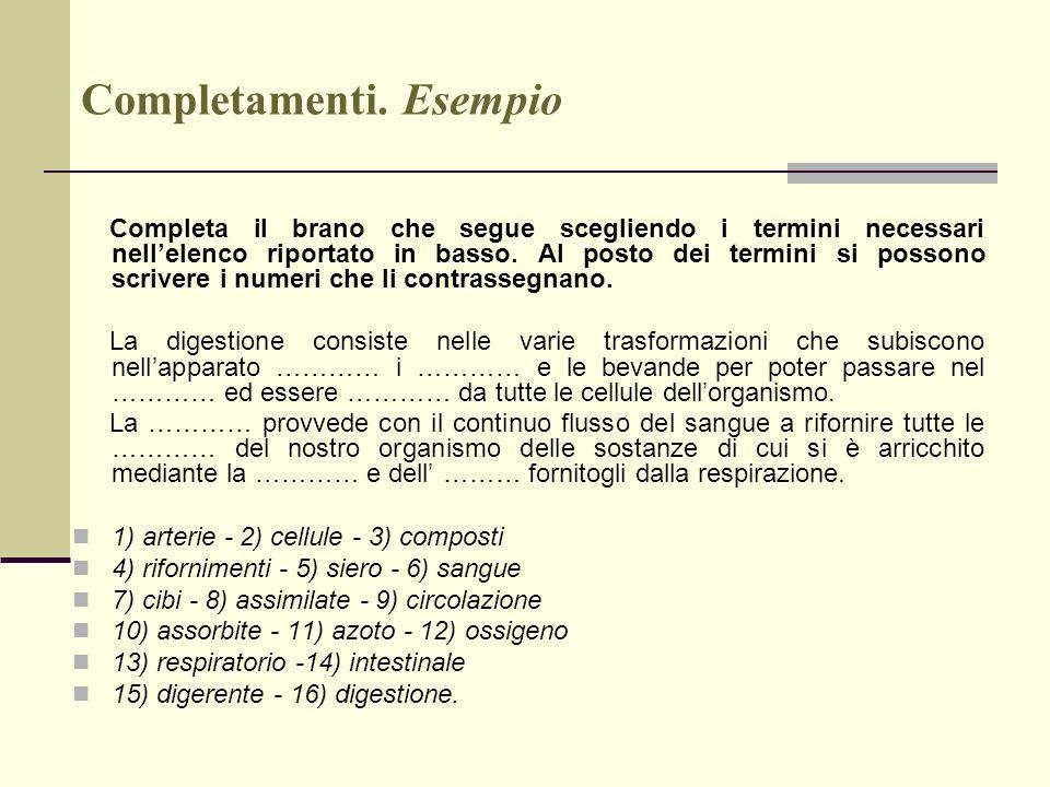 Completamenti. Esempio Completa il brano che segue scegliendo i termini necessari nellelenco riportato in basso. Al posto dei termini si possono scriv