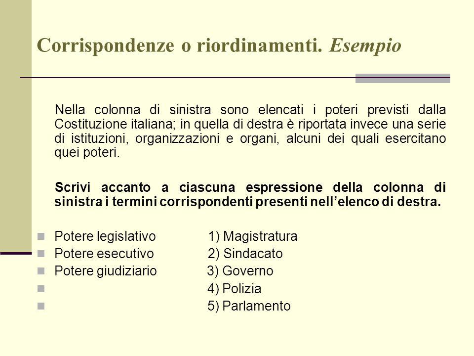 Corrispondenze o riordinamenti. Esempio Nella colonna di sinistra sono elencati i poteri previsti dalla Costituzione italiana; in quella di destra è r