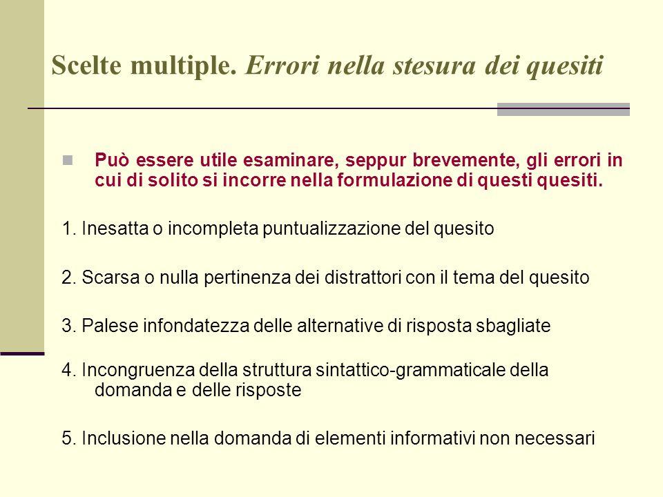 Scelte multiple. Errori nella stesura dei quesiti Può essere utile esaminare, seppur brevemente, gli errori in cui di solito si incorre nella formulaz